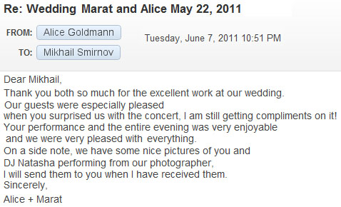 Recommendation letter, Wedding May 22, 2012, Perona Farms, Andover, NJ
