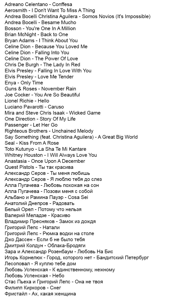 Russian DJ Song List - Most Requested slow dancing songs - updated July 1, 2014